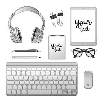 Office. notepad, headphones, notebook, keyboard, computer mouse, pen, pencil, glasses, paper clip.