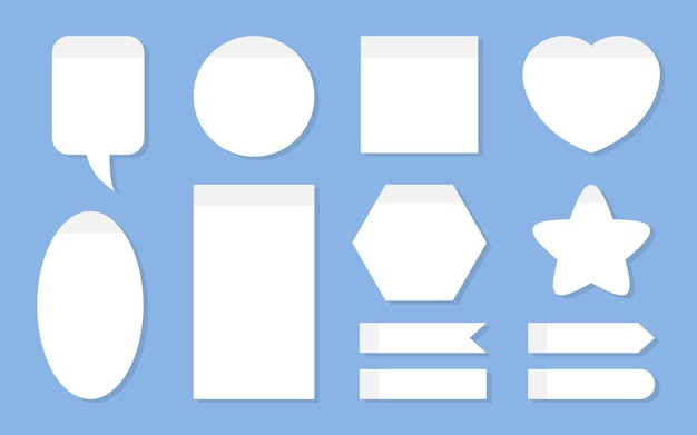 Office notes planning sticker set template empty white paper for notepad and scheduling different sh...