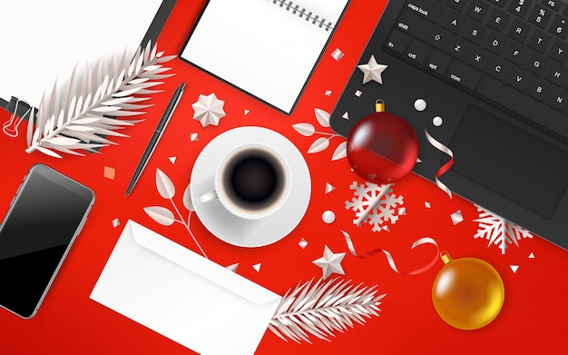 Office objects with christmas accessory.