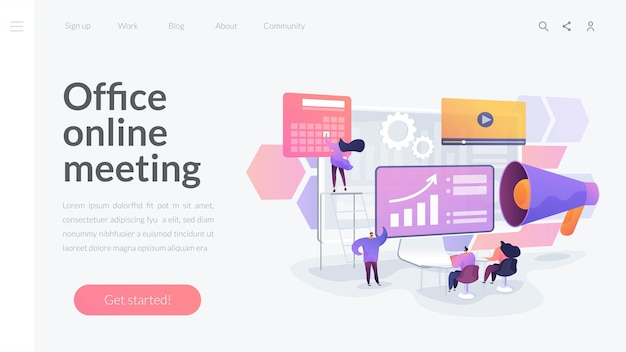 Office online meeting landing page template