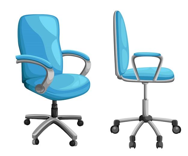 様々な視点でのオフィスやデスクチェア。フロント、バック、サイドアングルのアームチェアまたはスツール。企業のキャスター家具アイコン。図。