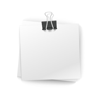 Office paper stack with pin isolated on white