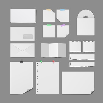 Office paper supplies  blank templates set