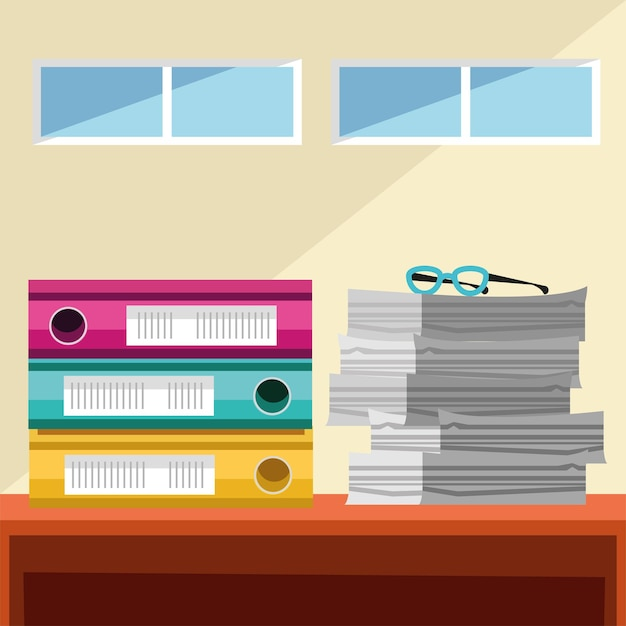 Office papers and stacked of binder