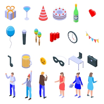 Office party icons set, isometric style