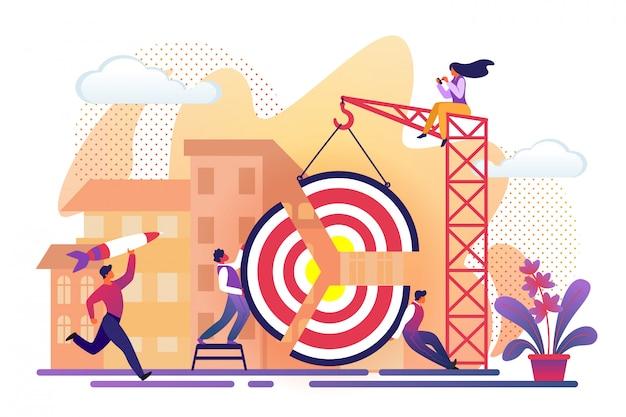 Office people assembling huge target