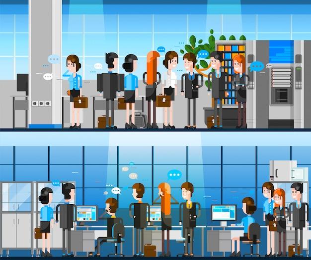 Office people cartoon composition