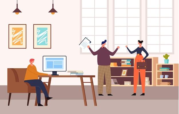 オフィスの人々のキャラクターの生活の概念。