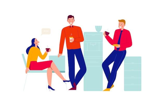 コーヒーを飲むチャットの同僚のグループとオフィスの人々の構成