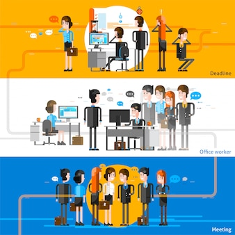 Office people flat horizontal background