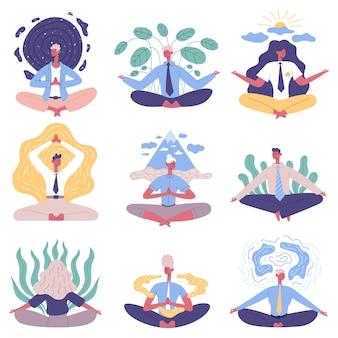 Поза лотоса йоги медитации группы людей офиса. набор векторных иллюстраций медитации расслабляющий практикующих офисных людей. практика йоги деловых людей