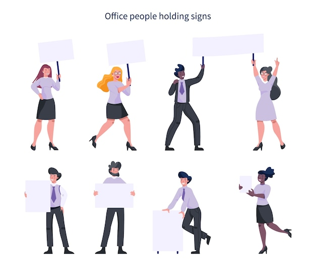 Office people holding banner set. collection of worker character with blank empty board for message. advertising concept.