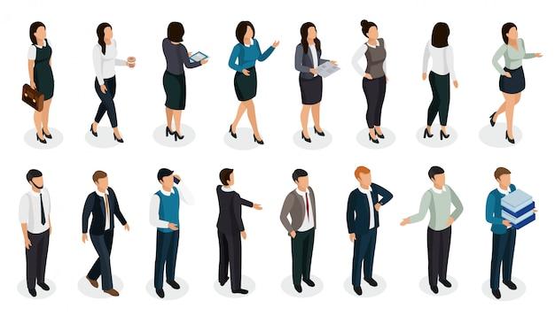 分離されたアクセサリー等尺性セットと様々な姿勢でビジネス服のオフィスの人々