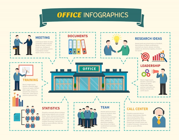Office  people infographics web page