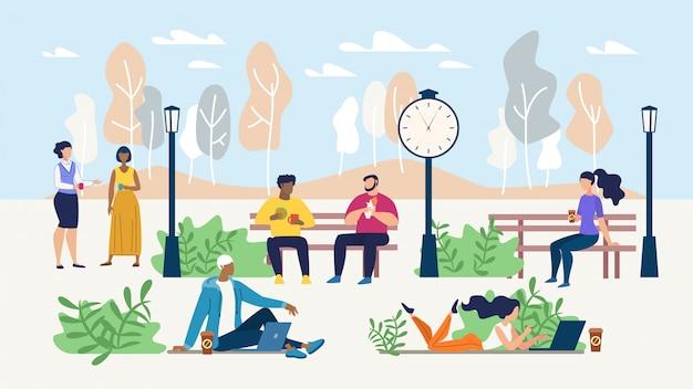 Office people rest during coffee break in park