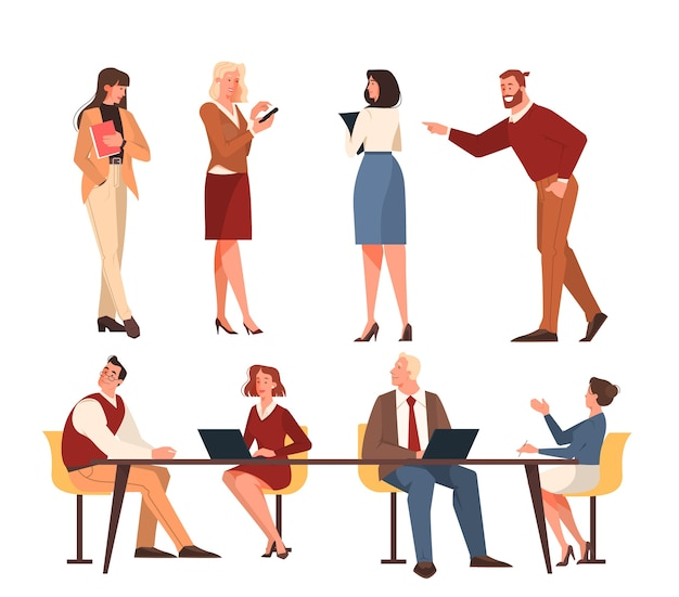 Office people set. illustration of work team male and female, young employee standing.