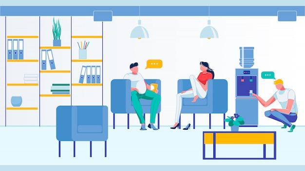 Office people speak in room informal conversation.
