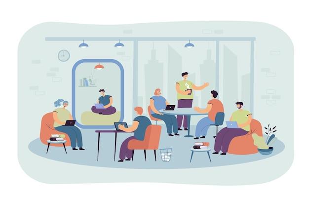 現代のコワーキングインテリアの職場でラップトップとコンピューターを使用しているオフィスの人々。漫画イラスト
