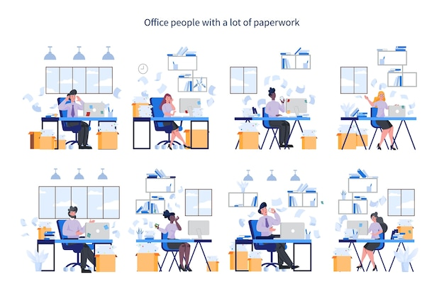 Office people with a lot of paperwork set. deadline and busy life . idea of many work and few time. employee stressing in office. business problems.