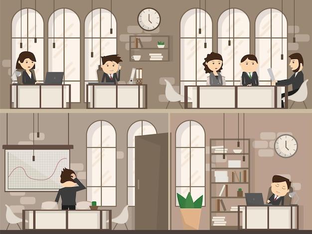 사무실 책상과 비즈니스 회의 또는 팀워크가 있는 사무실 사람들, 평면 스타일 벡터 일러스트레이션에서 브레인스토밍 - creative workplace space 2층
