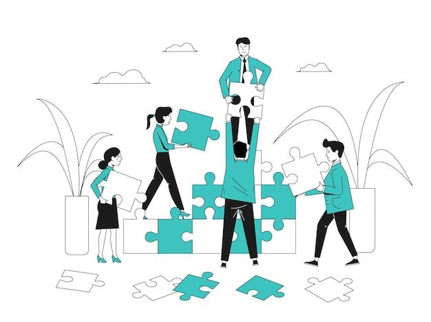 パズルを持つオフィスの人々。コミュニケーションチームは、抽象的なテクノロジーをコラボレーションします。白のチームワークまたは管理ビジネス戦略最近のベクトルの概念