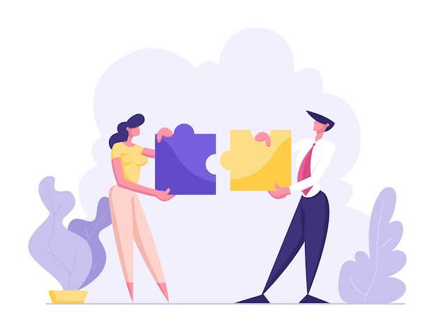 Офисные люди работают вместе, создавая красочные отдельные части головоломки иллюстрации