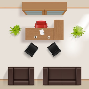 Office plan. modern business building top view room floors with furniture table desk chairs window wardrobe armchair couch vector realistic. plan interior room, view project table chair illustration