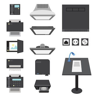 Office and presentation icons for workplace and presentation.