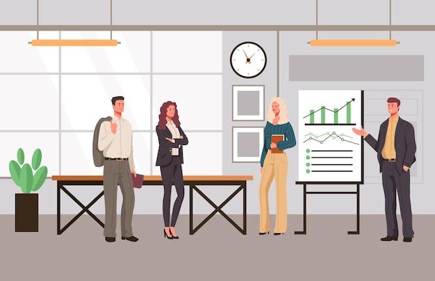 Офисные презентации люди офисные работники персонажи концепция.