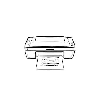 Office printer hand drawn outline doodle icon. document printing, printer machine, printing equipment concept