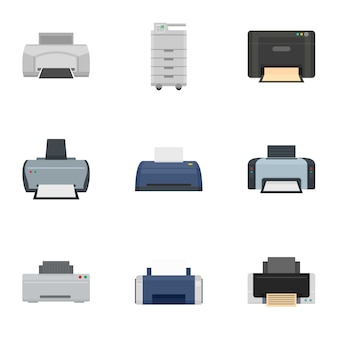 Office printer icon set, flat style