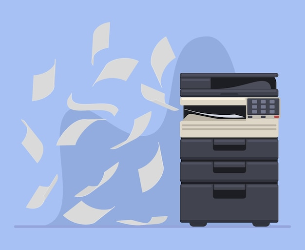 Office professional copier or printer printing documents. printer office work multifunction printing machine vector illustration. printer machine printing paper documents