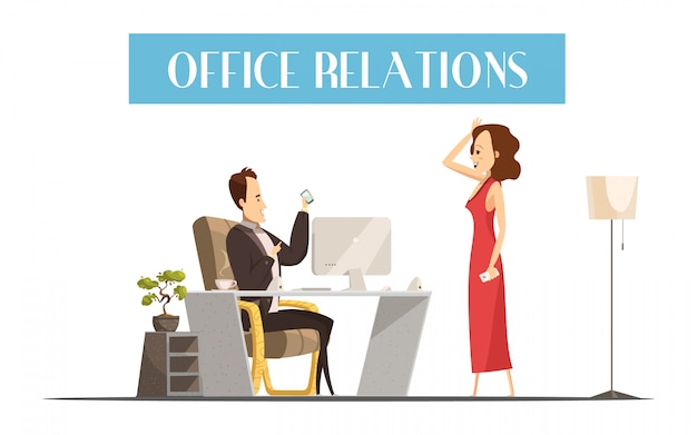Office relations cartoon style design with attractive woman