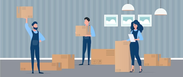 Office relocation to a new location illustration
