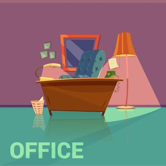 Office retro design with lamp armchair and telephone cartoon