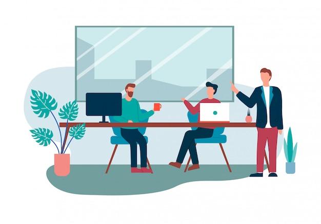 Office room interior cartoon people meeting talk