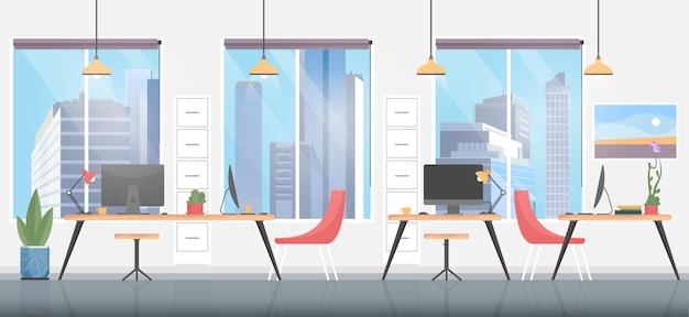 オフィスルームのインテリア、モダンな家具を備えたクリエイティブな職場環境