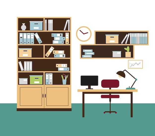 책꽂이, 책장, 의자, 책상에 컴퓨터 및 벽에 시계가있는 사무실 룸 인테리어.