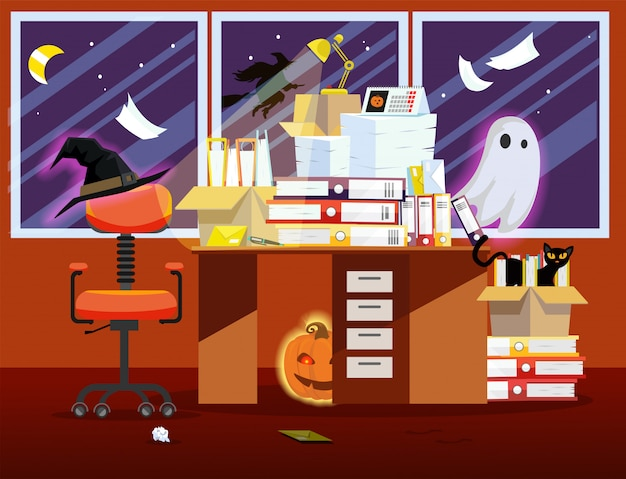 Office room interior with pumpkin, glowing ghost and pile of paper documents on desk.