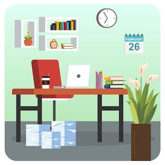 Офисная комната работа из дома иллюстрации