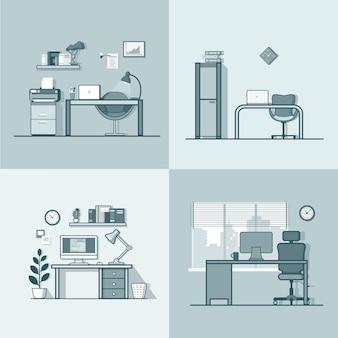 Офисное помещение, рабочее место, стол, стул, интерьер, набор. плоский стиль контура линейного обводки