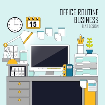Office routine concept in flat line style