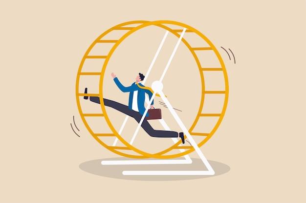 オフィスのサラリーマンは、キャリアパス、試行錯誤、過労の疲労感なしにループで働いています