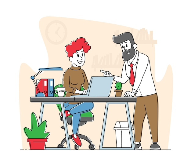사무실 현장 비즈니스 사람들 캐릭터는 사무실에서 프로젝트를 논의합니다. 회사 팀워크 협업