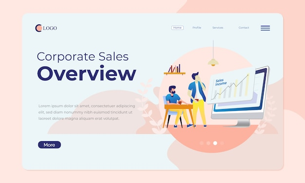 Office scene for landing page or web banner