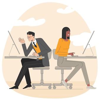 사무실 장면 사무실에서 일하는 사람들