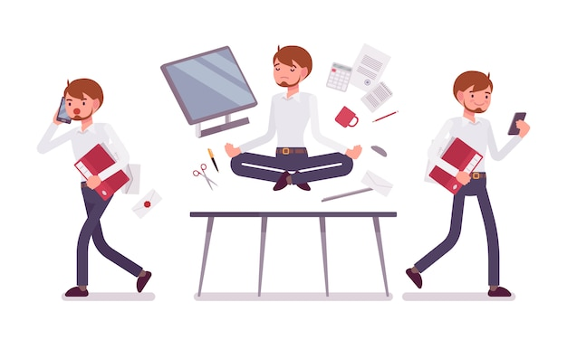 Office scene with busy and relaxed in yoga male clerk