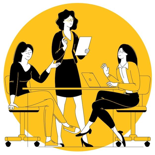사무실 장면입니다. 여성 비즈니스 팀입니다.
