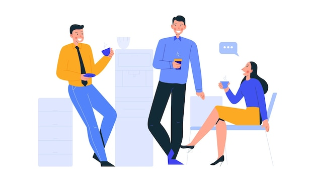 コーヒーを飲みながらチャットしている同僚のグループとのオフィスシーンの構成