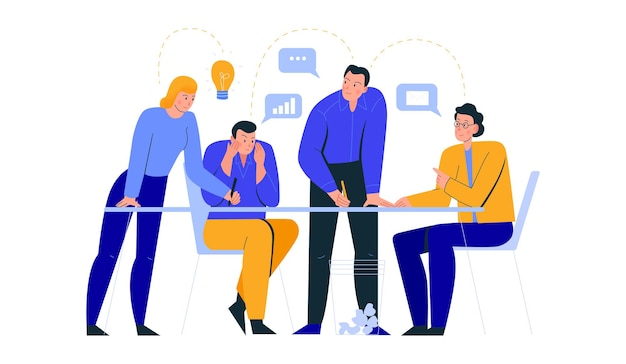 テーブルに座ってブレーンストーミングを行う4人の労働者のグループによるオフィスシーンの構成
